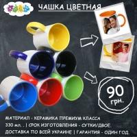 Цветные чашки с фото. Печать на чашках. Klik