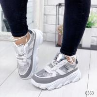Кроссовки женские Geeer белый+ серебро