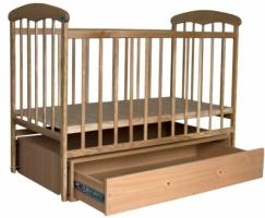 Кроватка деревянная маятник+шухляда Наталка светлый ясень