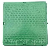 Люк зеленый полимерный квадратный 650х650 мм, нагрузка 1,5 т.