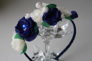 Обруч для волос «Синие цветы» от автора handmade Анны Юриной