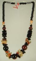 Коллекция «Подарок в год Змеи» - Вечернее ожерелье из Коричневого Агата, сердолика, кварца и чешского хрусталя.