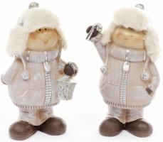 Набор 2 декоративных фигурки «Детки в шапках» 16.5см, Шампань
