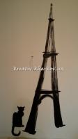 Роспись стен кухни Эйфелева башня и чёрная кошка в стиле Мулен-Руж