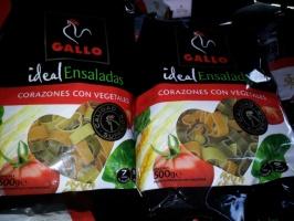Цветные макароны с овощами форма Сердце«Gallo» 500г