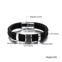 Мужской браслет плетеная кожа + сталь.