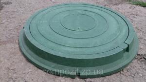 Люк полимерпесчаный круглый, нагрузка до 1.5 т. с запорным механизмом в зеленом цвете