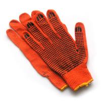Перчатки оранжевые х/б в точку