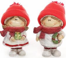 Набор 2 декоративных фигурки «Детки в шапках» 16см