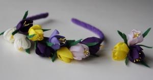 Весенний обруч для волос «Крокусы» + заколка/резинка от автора handmade Анны Юриной