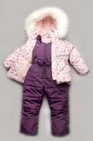 Зимний детский костюм-комбинезон «Bubble pink» для девочки