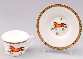 Чайный набор Fast Horse 6 чашек 220мл и 6 блюдец, костяной фарфор