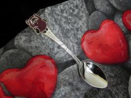 Детская сувенирная ложка Винни-Пух. Серебро + эмаль.