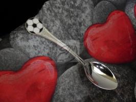 Детская сувенирная ложка Футбольный мяч. Серебро + эмаль.