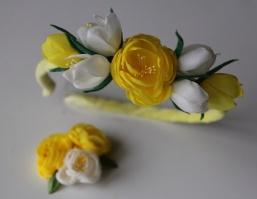 Обруч для волос «Желтые цветы» + фирменная заколка от автора handmade Анны Юриной
