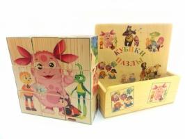 Деревянные кубики пазлы в коробке.
