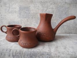 Кофейный набор турка и чашки из Красной глины