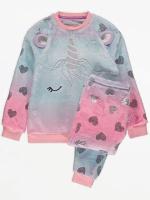 Пижама флисовая плюшевая для девочки от 3 до 14лет единорог