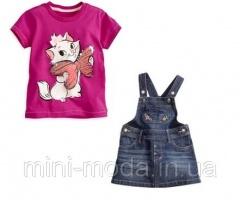 Детский джинсовый сарафан и футболка для девочки