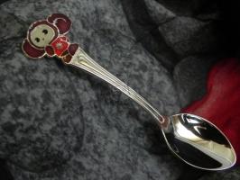 Детская сувенирная ложка Чебурашка. Серебро + эмаль.