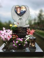 Памятник лебедь с сердцем c фото на керамике №2