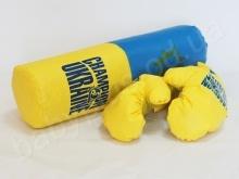 Набор боксерский«Победитель» размер средний Украина (груша + пара перчаток. высота 45 см, диаметр 15 см.)