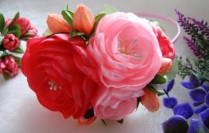 Обруч кораллово-розовая композиция