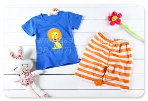 Летний костюм для мальчика шорты и футболка «Лев»