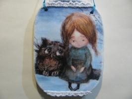 Панно «Девочка с совой» маленькое