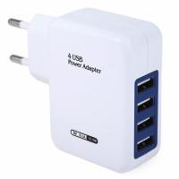 Универсальное зарядное устройство от сети для USB-устройств на 4 порта (ток 2.1A)