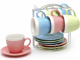 Чайный набор «Вязаный орнамент» 6 чашек 275мл и 6 блюдец на подставке