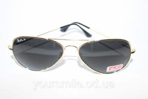 Легендарные очки Ray Ban Aviator Темные (изнутри Синие) линзы Поляризация
