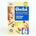 Каша молочная рисовая Bebi «Лесные орехи», 250 гр.