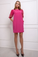 Платье с шифоновыми рукавами цвет розовый ЛИЛИ