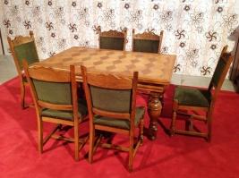 Столовый набор на 6 персон (стол+стулья) из натурального дуба. Бельгия