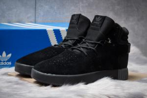 Зимние кроссовки на меху в стиле Adidas Tubular Invader Strap, черные (30441),  [  44 (последняя пара)  ]