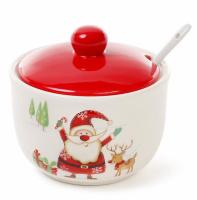 Сахарница керамическая Happy New Year «Веселый Санта» 400мл с ложкой