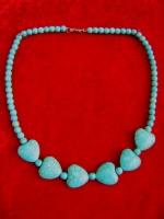 Оригинальное ожерелье НАТУРАЛЬНАЯ индийская БИРЮЗА длина 45 см