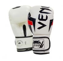 Перчатки боксерские кожаные VENUM Challenger бело-черные 10,12 oz