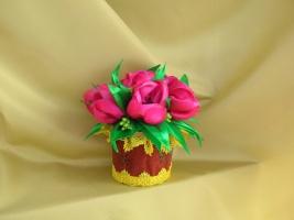 Горщик з тюльпанами ручної роботи від handmade автора Христини Борисовської