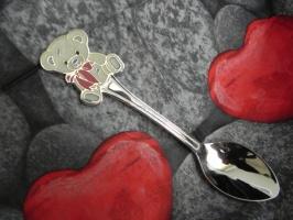 Детская сувенирная ложка Мишка Тедди (Teddy Bear). Серебро + эмаль.