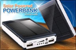 Power Bank Elite Lux 30000 мАч, LED ліхтарик, сонячна батарея