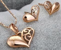 Комлект Сердце Узор серьги, кулон, цепочка позолота цирконы
