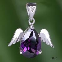 Очаровательный кулон с АМЕТИСТОМ ангел серебро 925