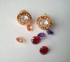 Серьги булгари с сменными камнями золото