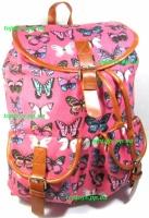 Рюкзак женский городской молодёжный модный тканевый розовый Бабочки. Хит продаж