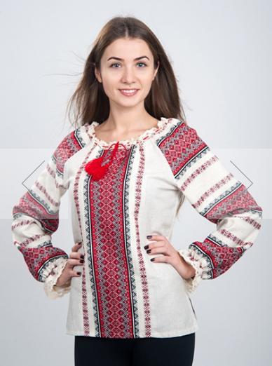 Яскрава вишиванка з червоним тканим орнаментом із небіленого льону. 2327475c070cb