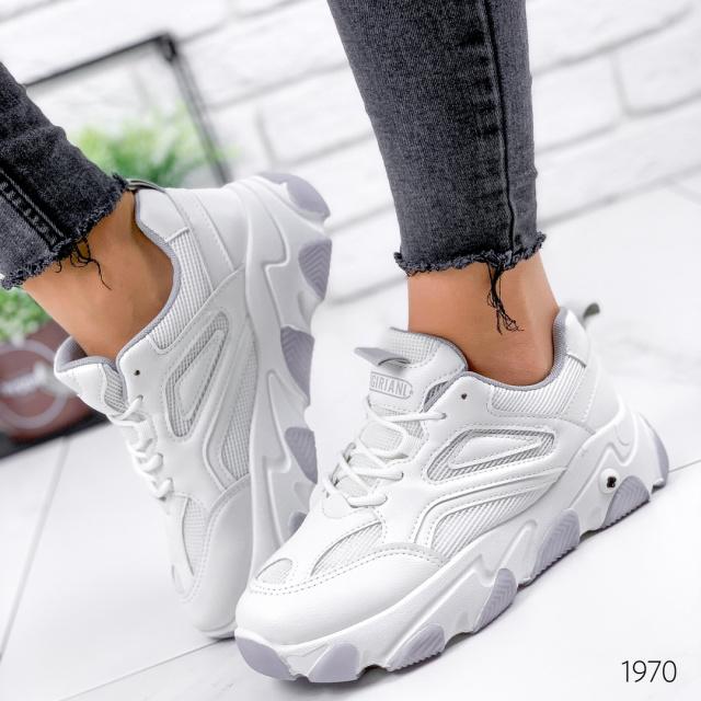 Кроссовки женские Flapp белый + серый