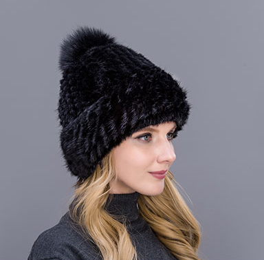 меховая женская шапка из вязанной норки на подкладке продажа цена
