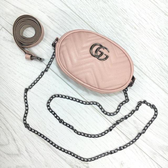 a9bac47267b9 Женская бананка, поясная сумка гучи, Gucci, кроссбоди. Розовая, пудра / 8815